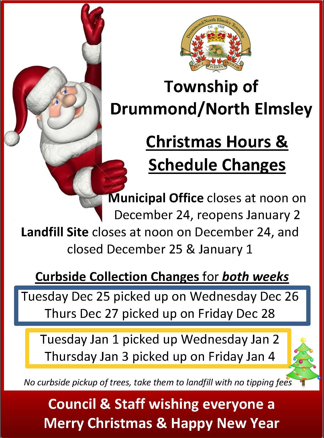 Christmas Hours & Schedule Changes